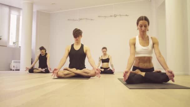 Jógy. Lidé dělají cvičení jógy