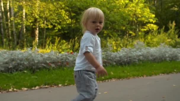 Malý chlapec kráčí po cestě v parku
