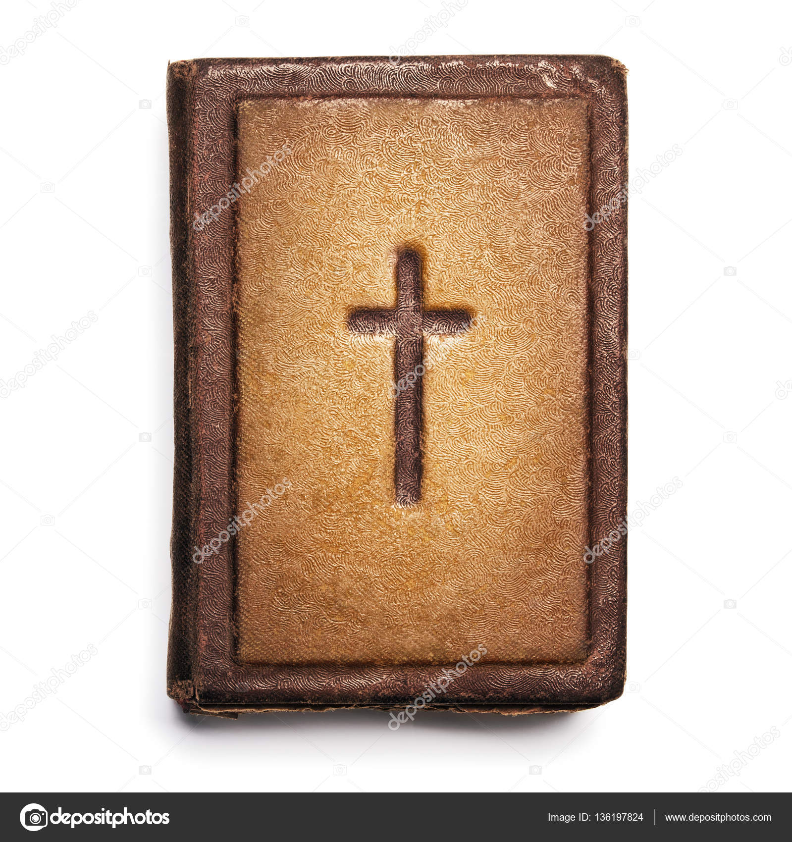 Old Bible Cover Vintage Leather Front Book Texture With Cross Stock Photo