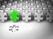 Puzzle vedoucí týmu, abstraktní 3d puzzle kousky najít poslední díra