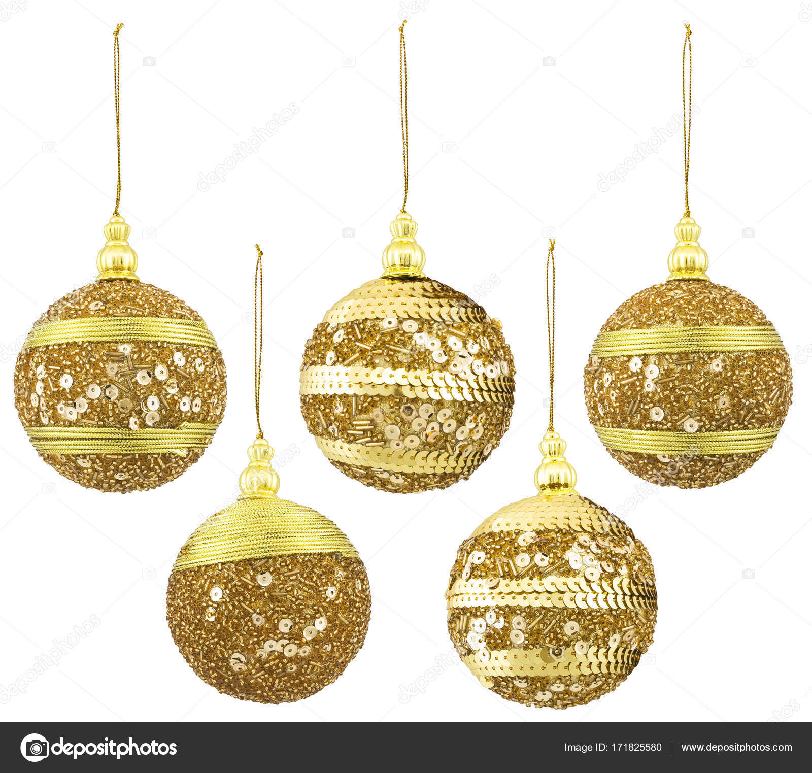 Christmas Balls Decoration New Year Hanging Ball Isolated Gold