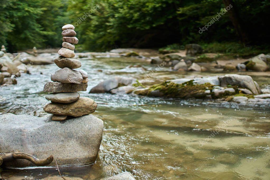 Stones arranged in zen towers