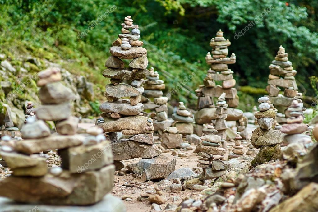 Stones arranged in zen towers