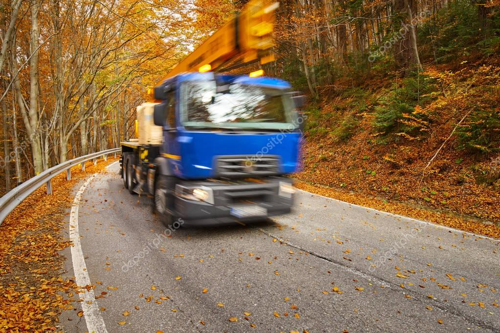 Truck speeding through forest