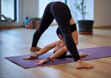 Woman yoga practitioner in various postures (asanas)