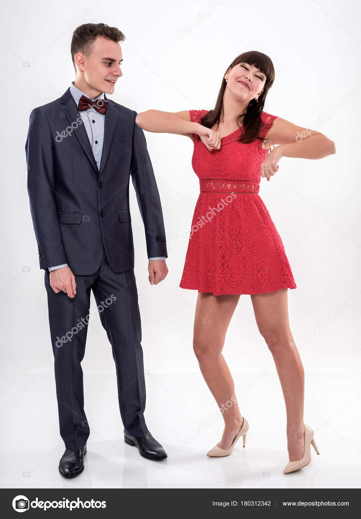 Teenager Paar Gekleidet Formellen Partei Kleidung Tanzen — Stockfoto ...