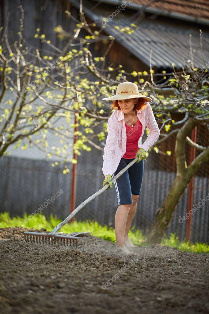 Female farmer working with rake preparing land for planting