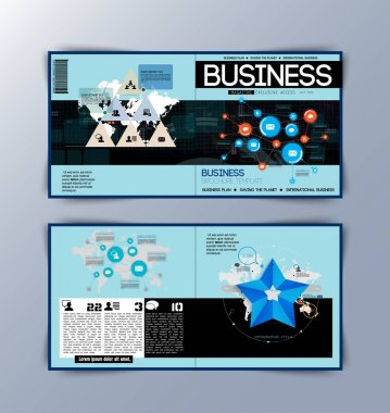 Layout business magazine with infographics