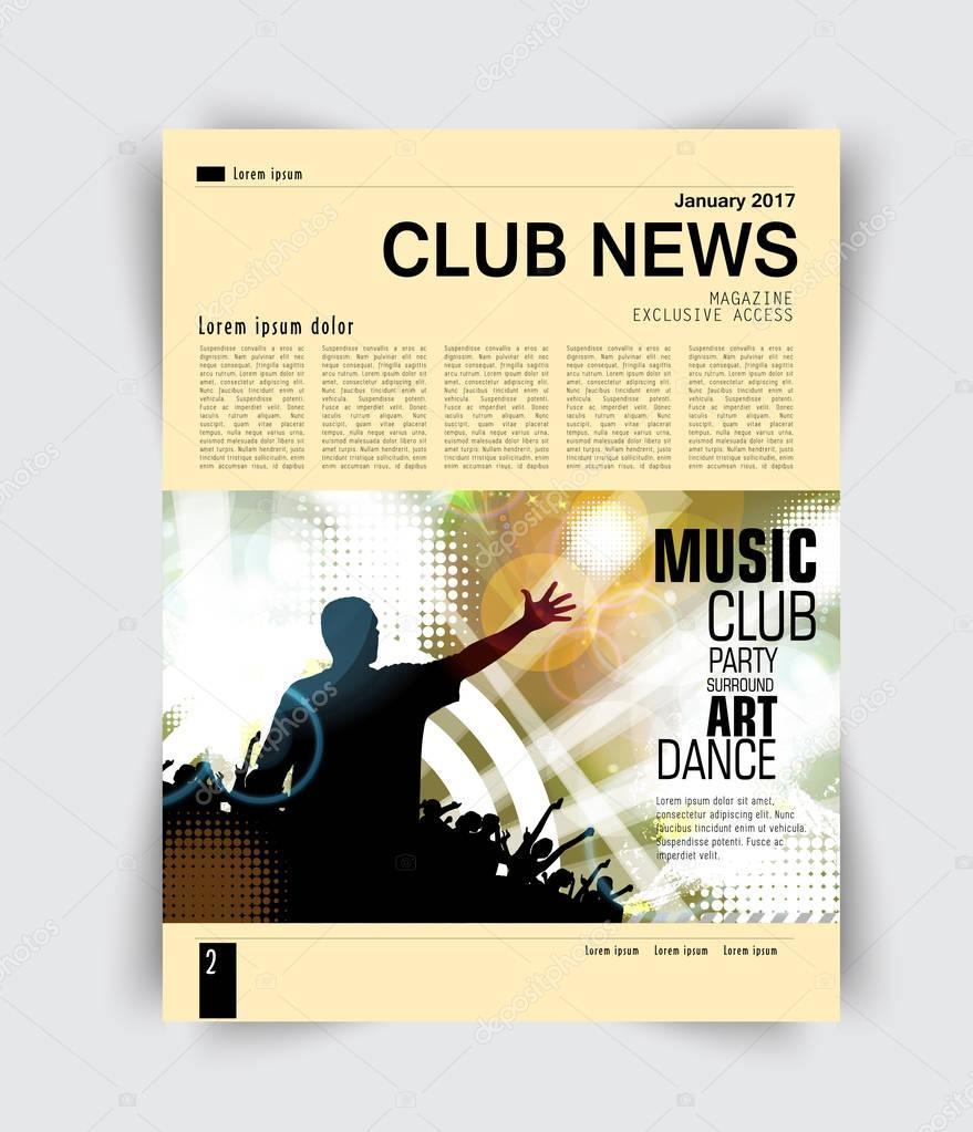 Layout page, music magazine
