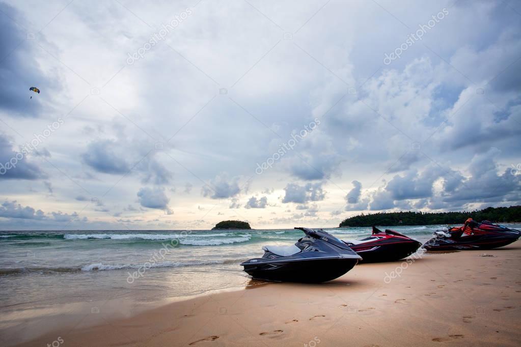 Ocean waves and beach on Phuket island