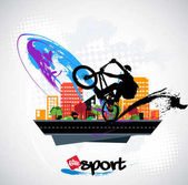 Fiatal kerékpáros jumper az utcán