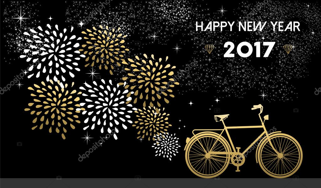 New year 2017 gold bike celebration background happy new year 2017 gold card design with bike and fireworks in night sky background eps10 vector cienpies voltagebd Image collections