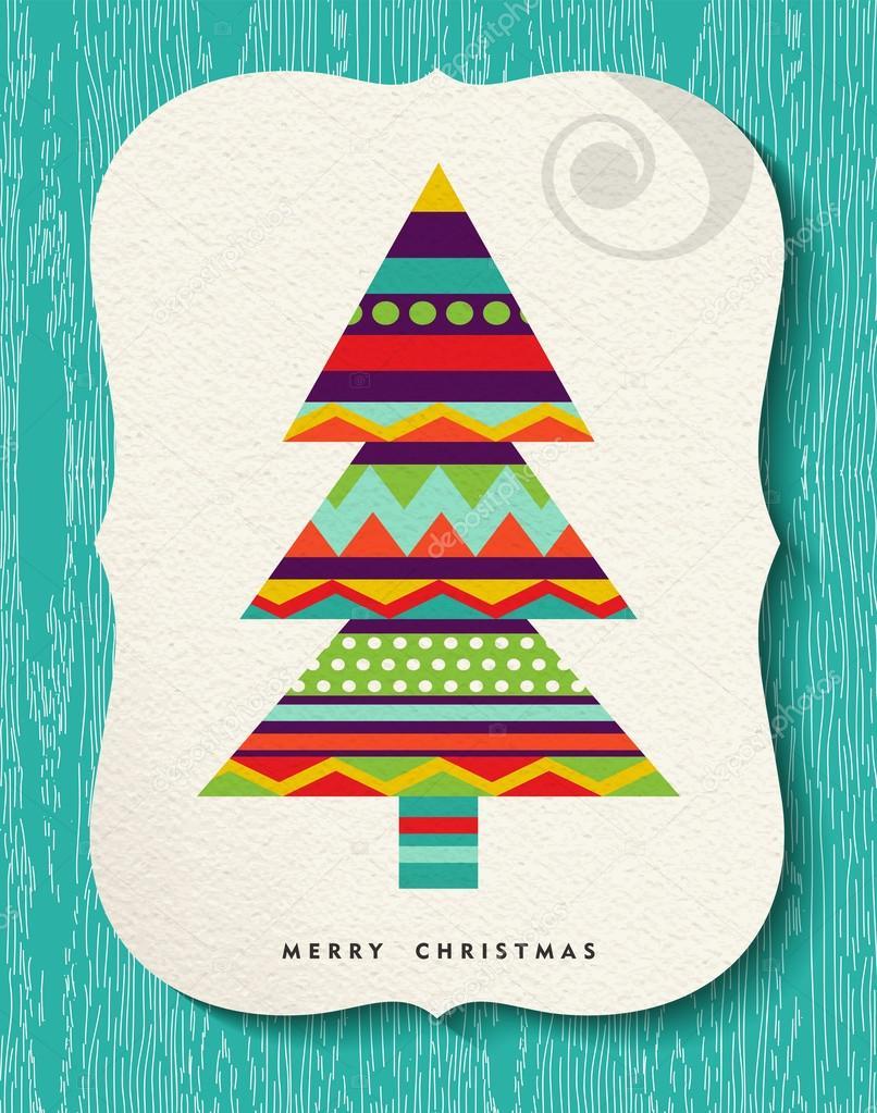 Frohe Weihnachten Kiefer-Baum-Design in lustigen Farben ...