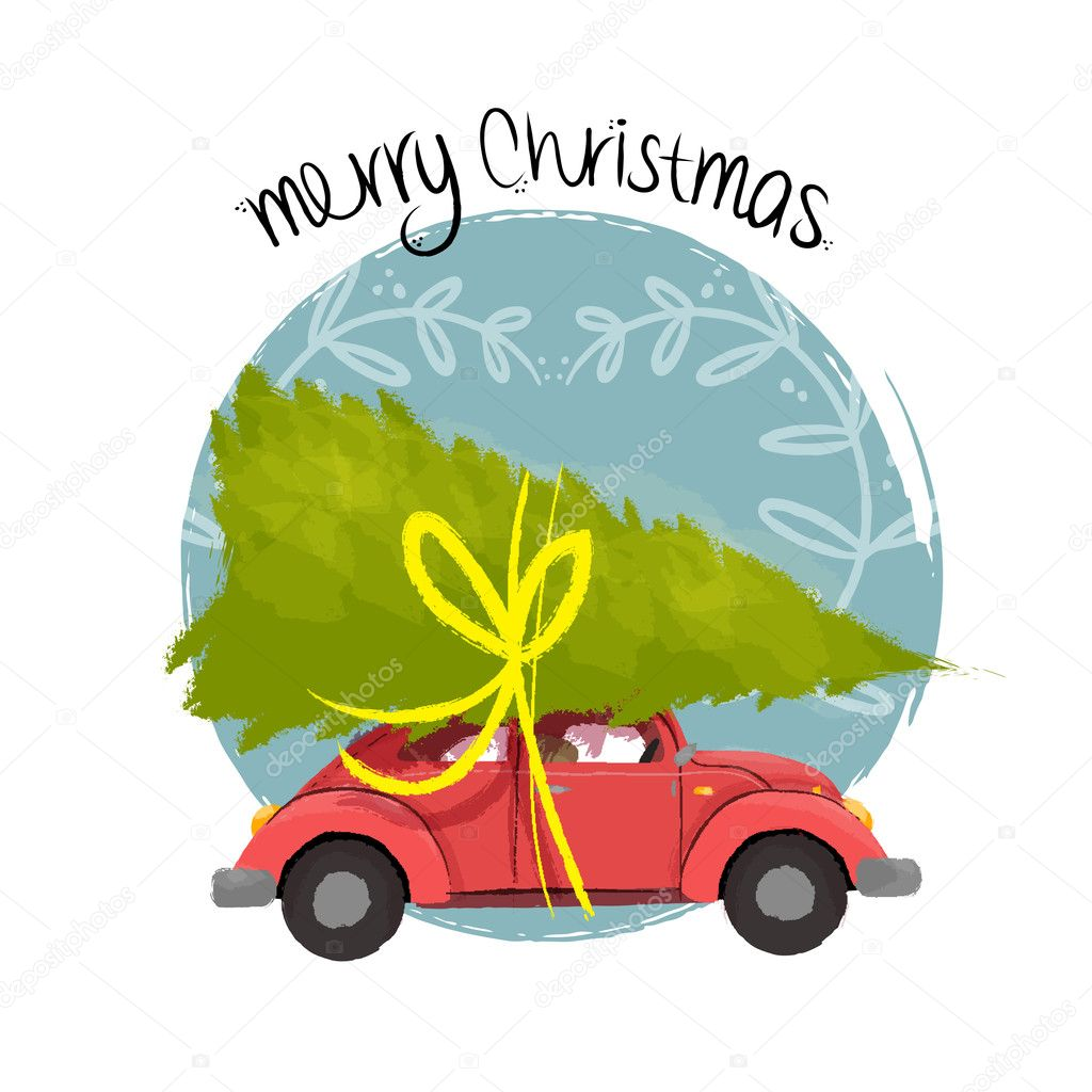 Merry Christmas Retro Car Illustration With Tree Stock Vector