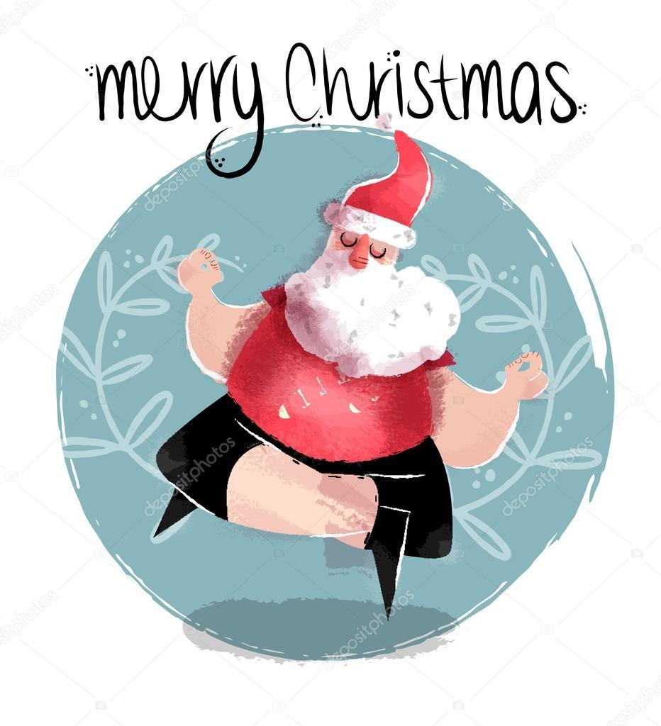 frohe weihnachten illustration der lustige yoga santa. Black Bedroom Furniture Sets. Home Design Ideas