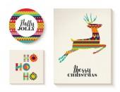 Barevné sady šablon vánoční přání s jeleny