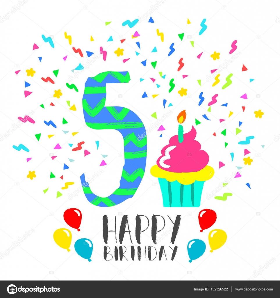 Auguri Buon Compleanno 5 Anni.Illustrazione Buon Compleanno Bimbo 5 Anni Scheda Di Buon