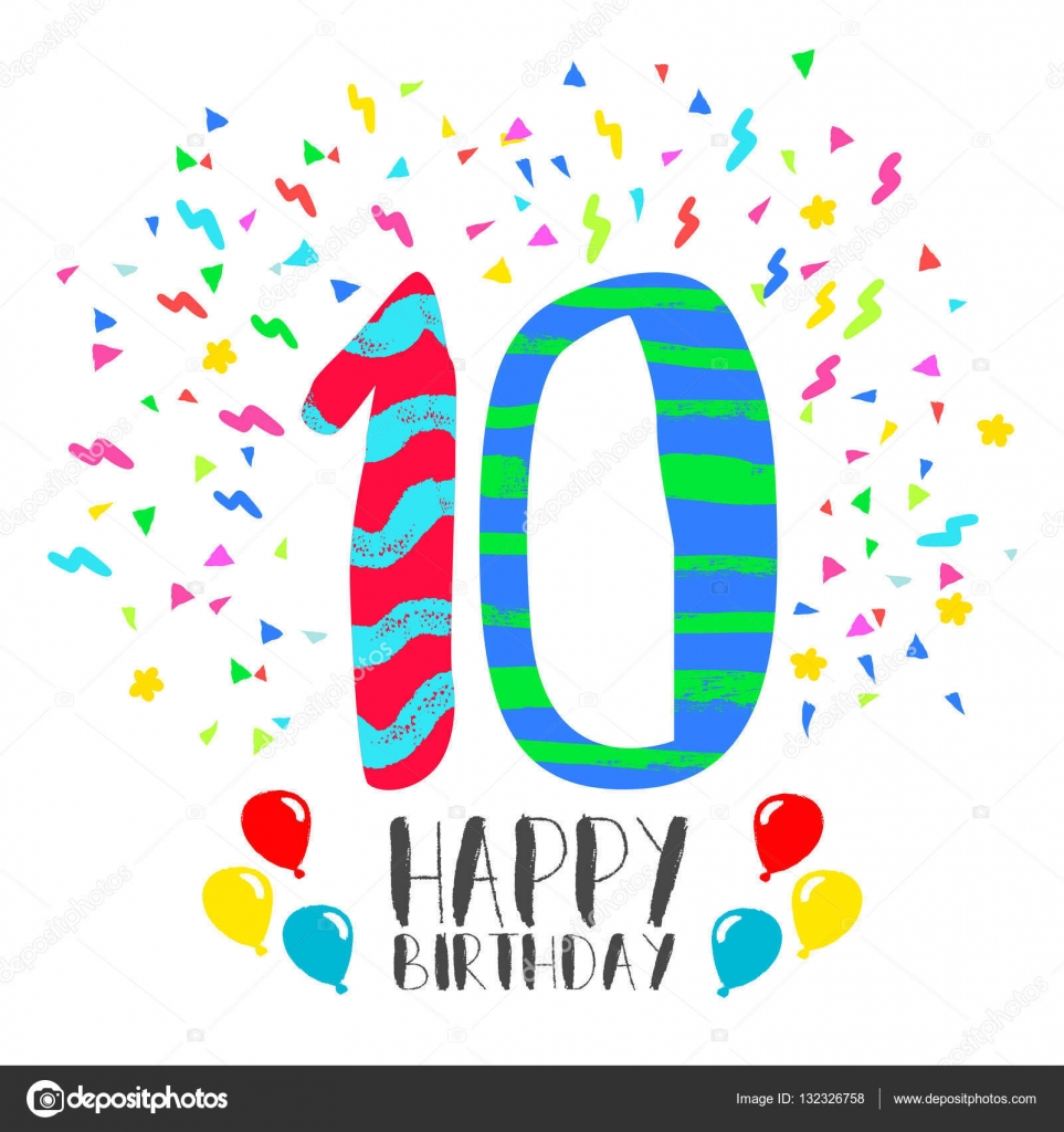 Tarjeta de cumplea os feliz para la diversi n de ni os de - Ideas cumpleanos 10 anos ...