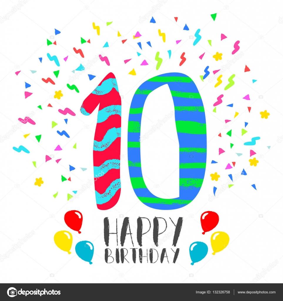 Zeer Gelukkige verjaardag-kaart voor tienjarig kind plezier partij  &NV62