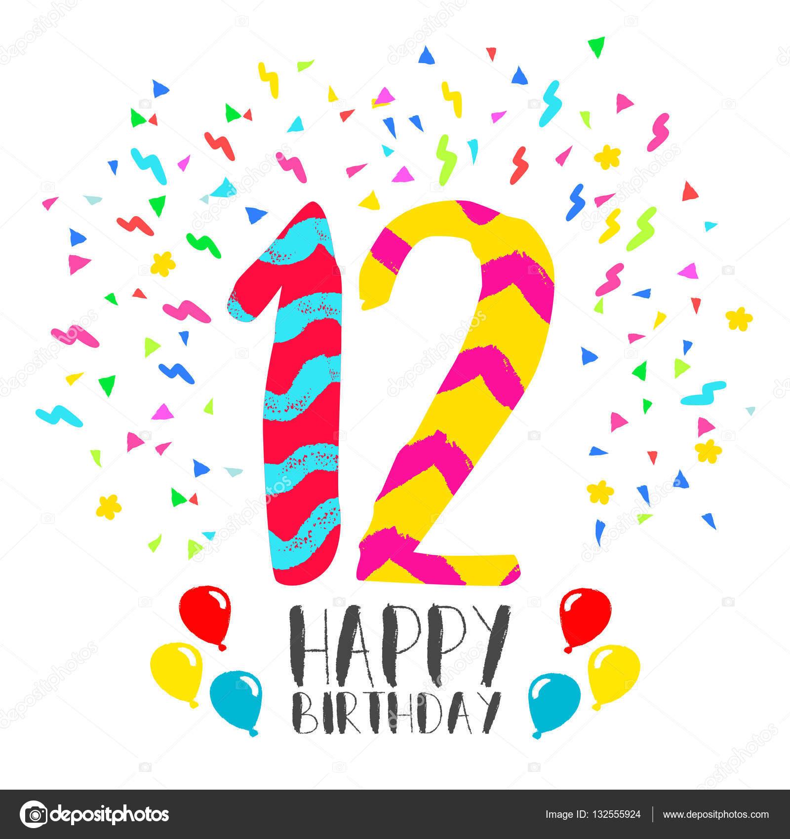 grattis på 12 årsdagen Grattis på födelsedagen för 12 år party inbjudningskort — Stock  grattis på 12 årsdagen