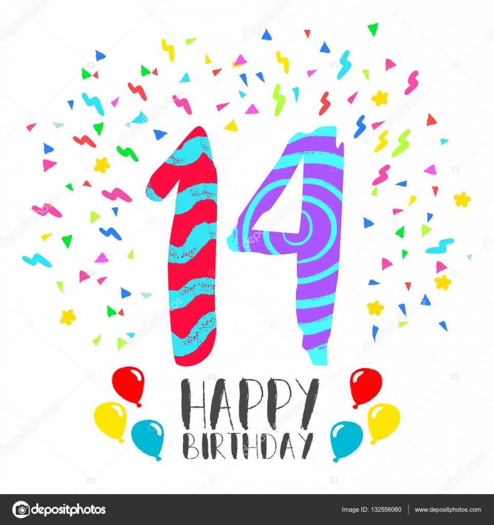 grattis 14 år Grattis på födelsedagen för 14 år party inbjudningskort — Stock  grattis 14 år