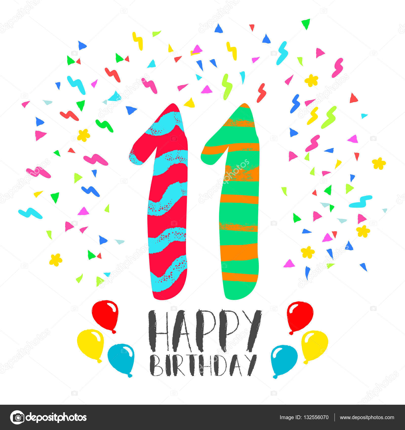Happy Birthday for 11 year party invitation card — Stock Vector ...