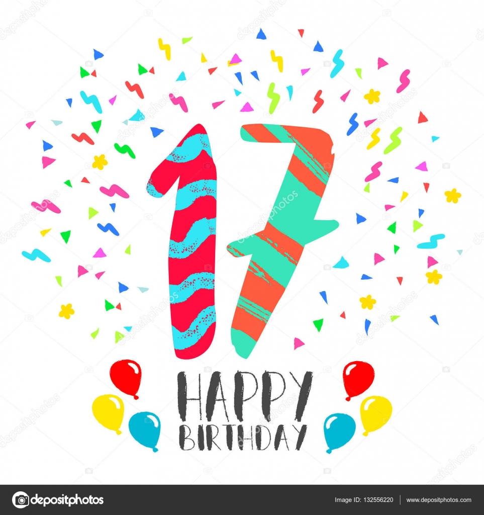 grattis 17 år Grattis på födelsedagen för 17 år party inbjudningskort — Stock  grattis 17 år