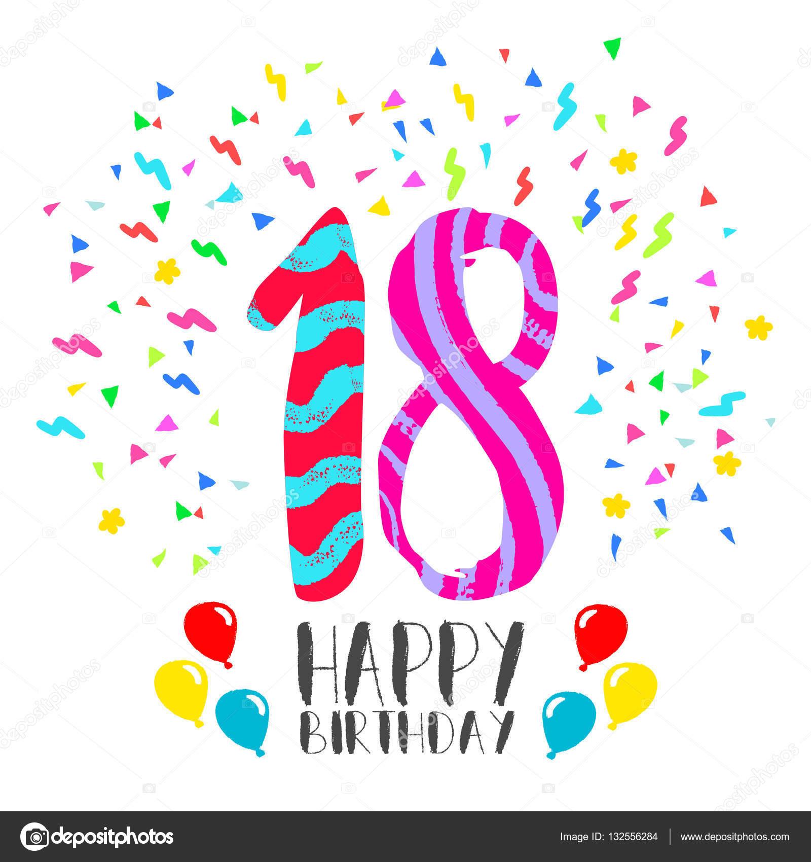 Buon Compleanno Per Carta Di Invito Festa 18 Anni Vettoriali Stock