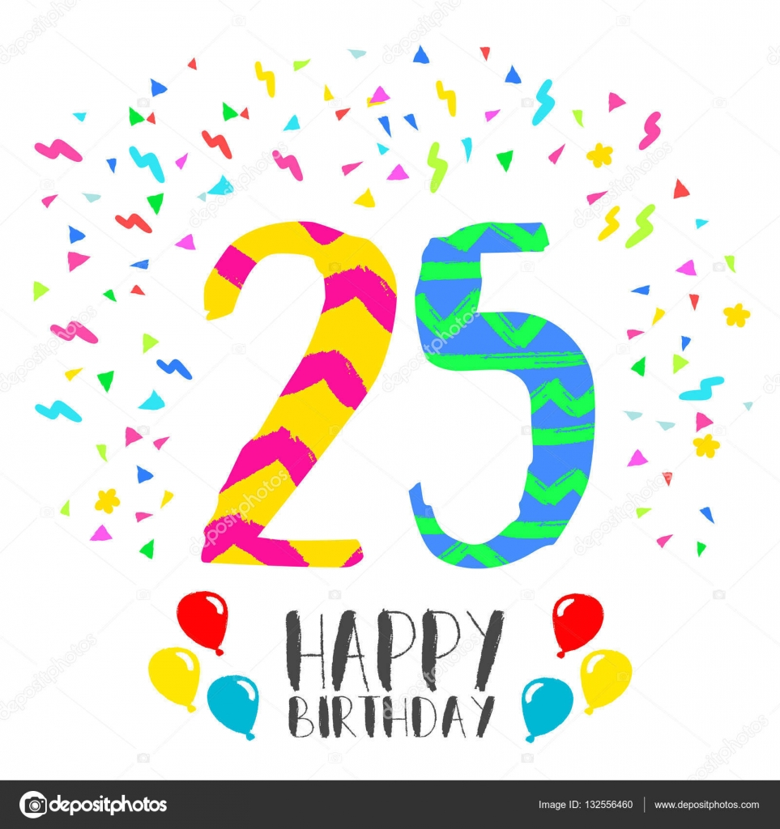 Happy Birthday Voor 25 Jaar Partij Uitnodigingskaart Stockvector