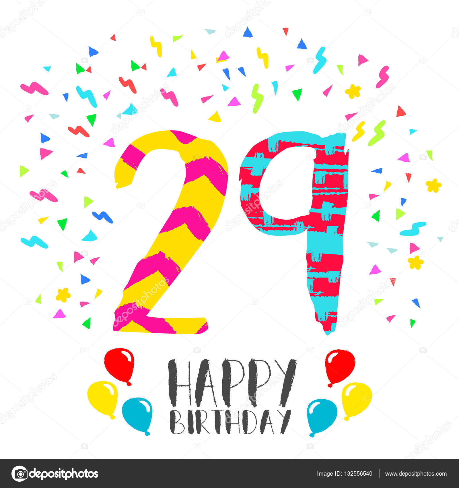 Happy birthday for 29 year party invitation card stock vector happy birthday for 29 year party invitation card stock vector bookmarktalkfo Images