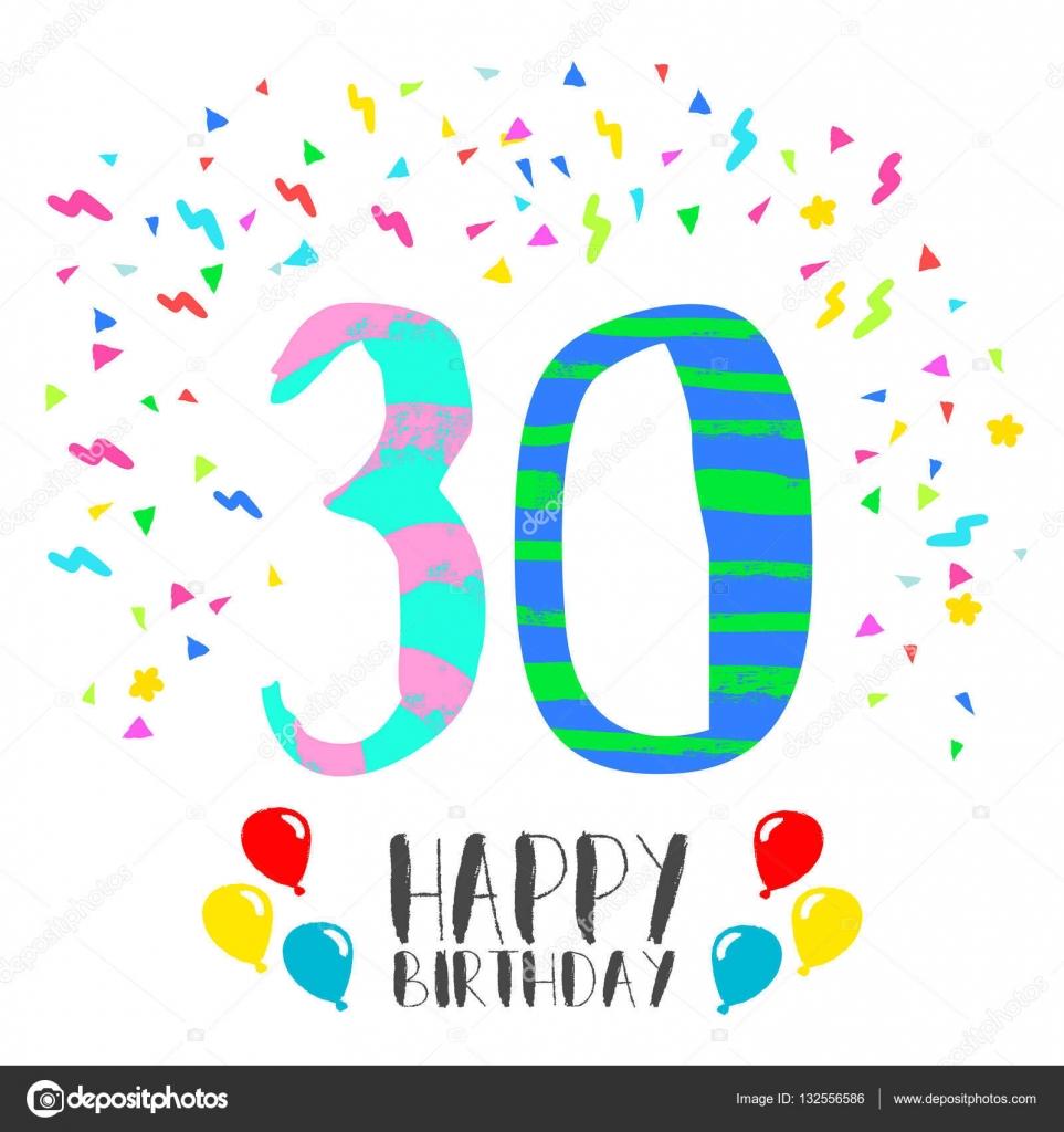 30 års hälsning Grattis på födelsedagen för 30 års party inbjudningskort — Stock  30 års hälsning