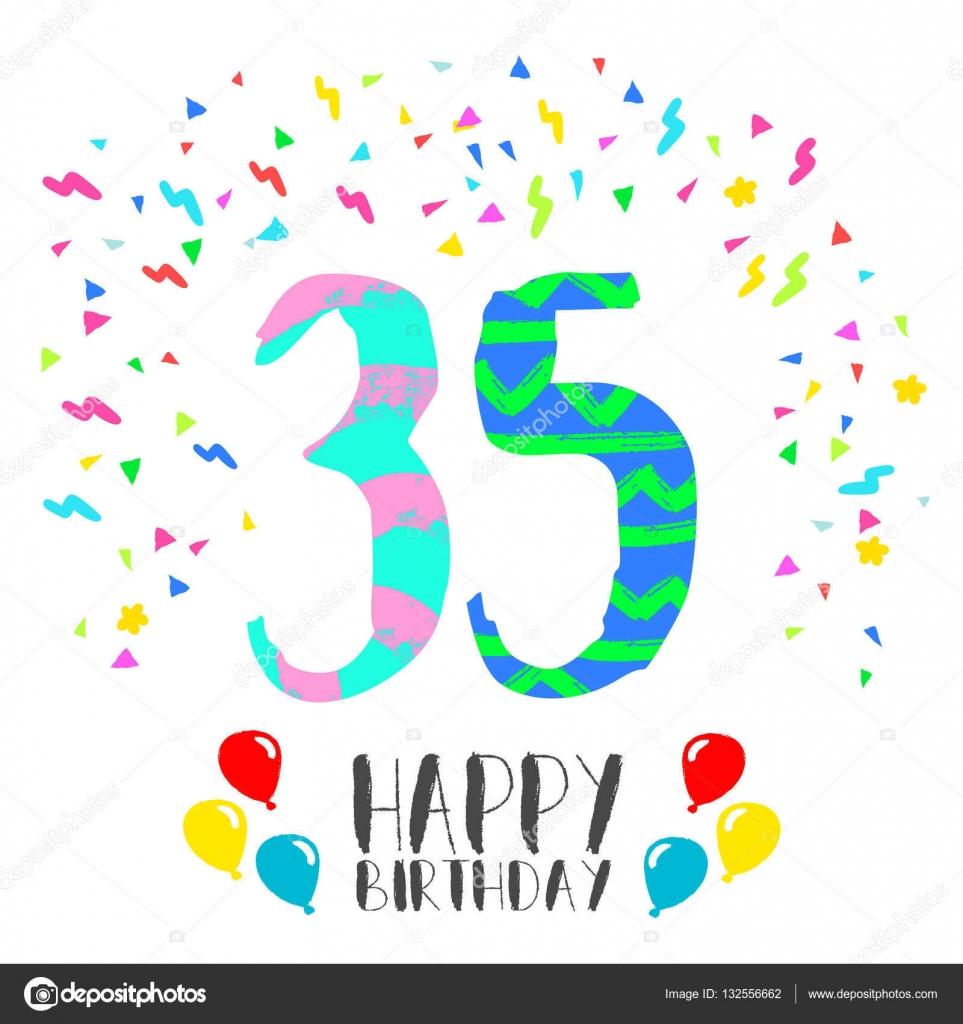 Joyeux Anniversaire Pour Carte D Invitation Fete 35 Ans Image