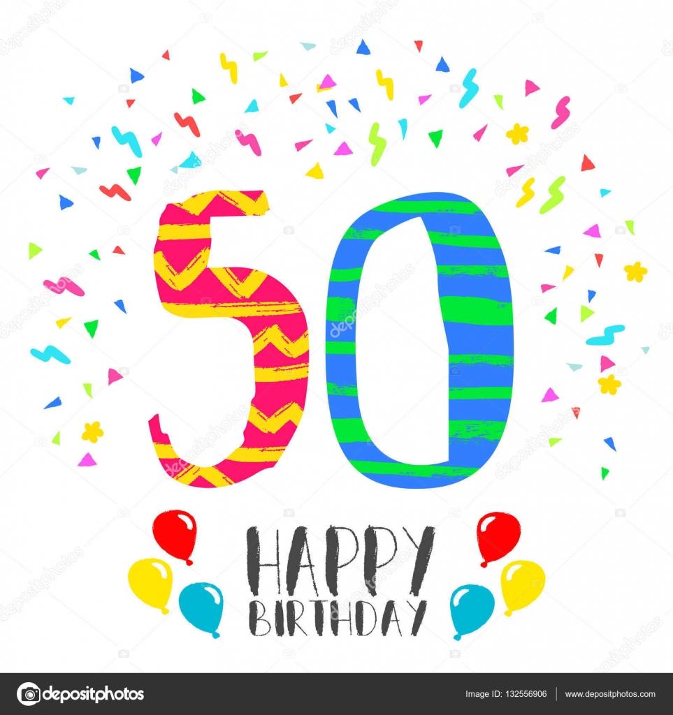 roliga bilder 50 år Grattis på födelsedagen för 50 år party inbjudningskort — Stock  roliga bilder 50 år