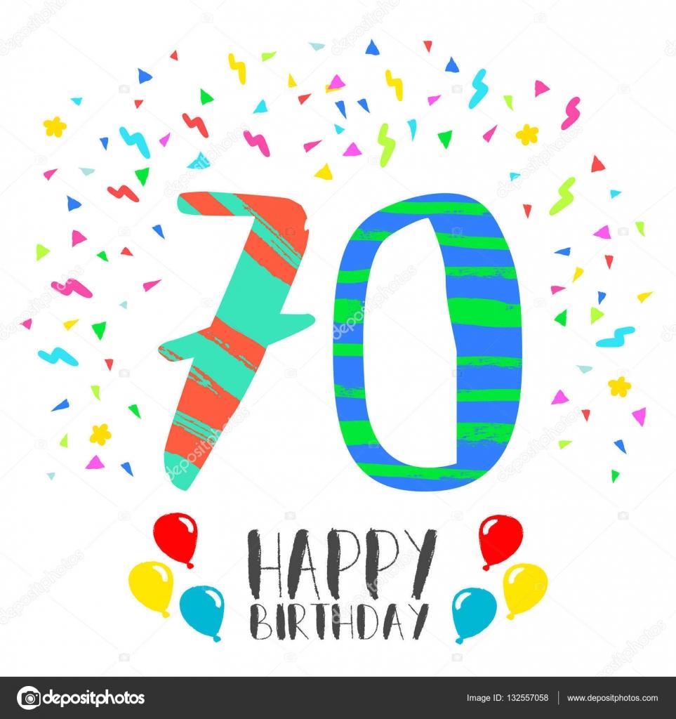 Bedwelming Happy Birthday voor 70 jaar partij uitnodigingskaart — Stockvector #XE92
