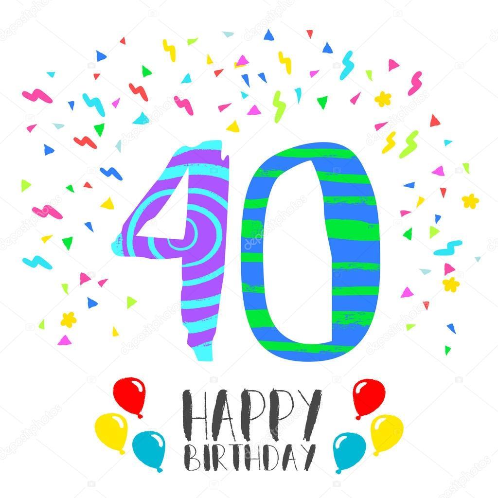 happy birthday voor 40 jaar partij uitnodigingskaart