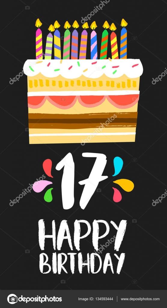 grattis 17 år Happy Birthday cake kort 17 sjutton år parti — Stock Vektor  grattis 17 år