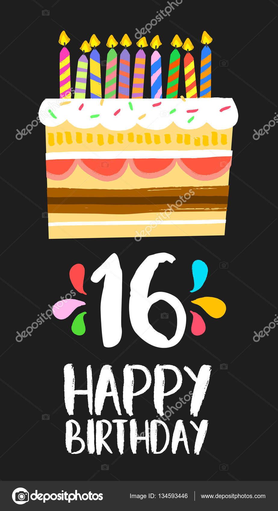 Happy Birthday Cake Kaart 16 Zestien Jaar Partij Stockvector