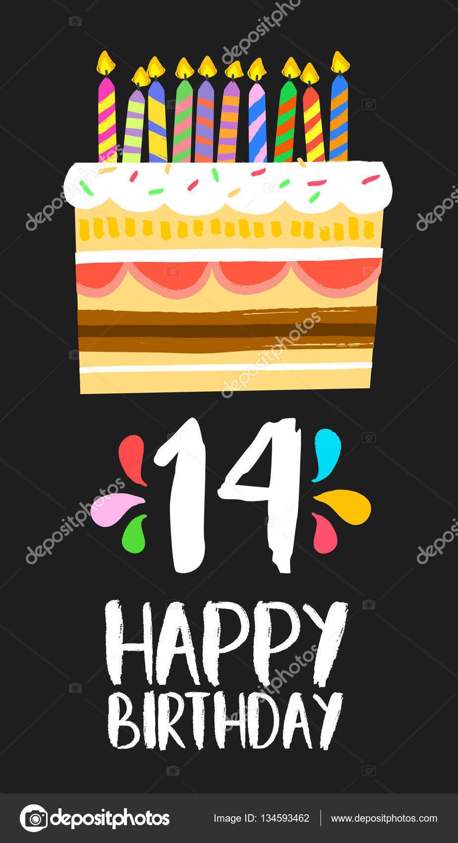 grattis på 14 årsdagen Happy Birthday cake kort 14 fjorton år party — Stock Vektor  grattis på 14 årsdagen
