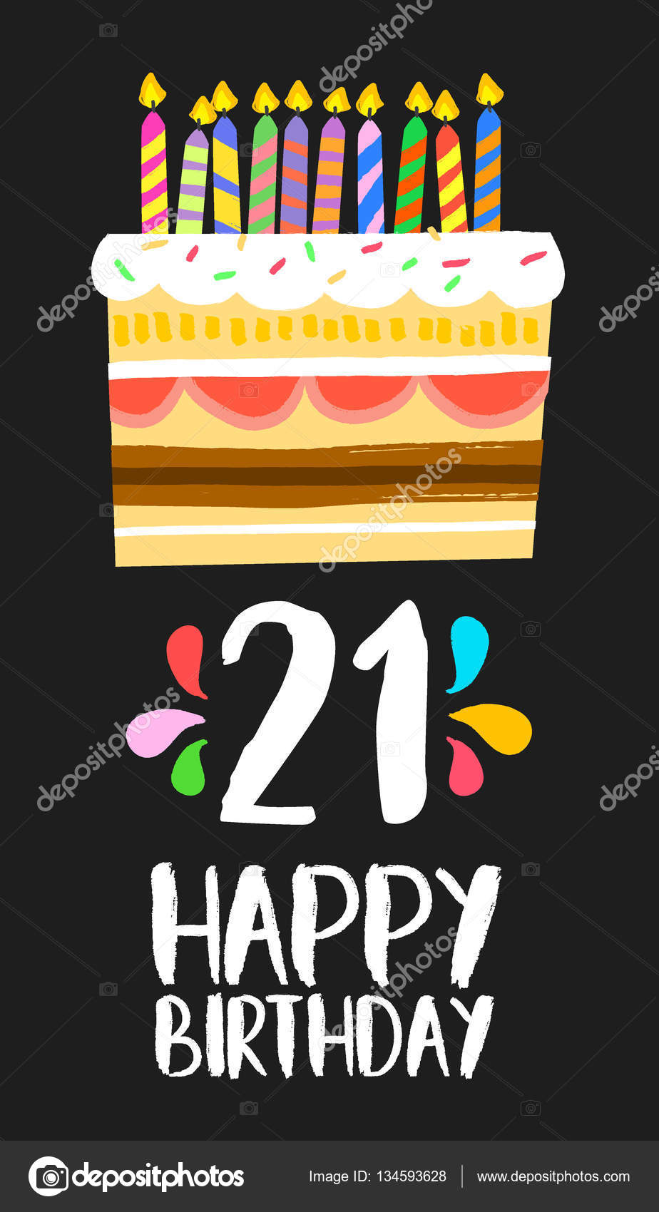 Happy Birthday Cake Card 21 Twenty One Year Party Stock Vector