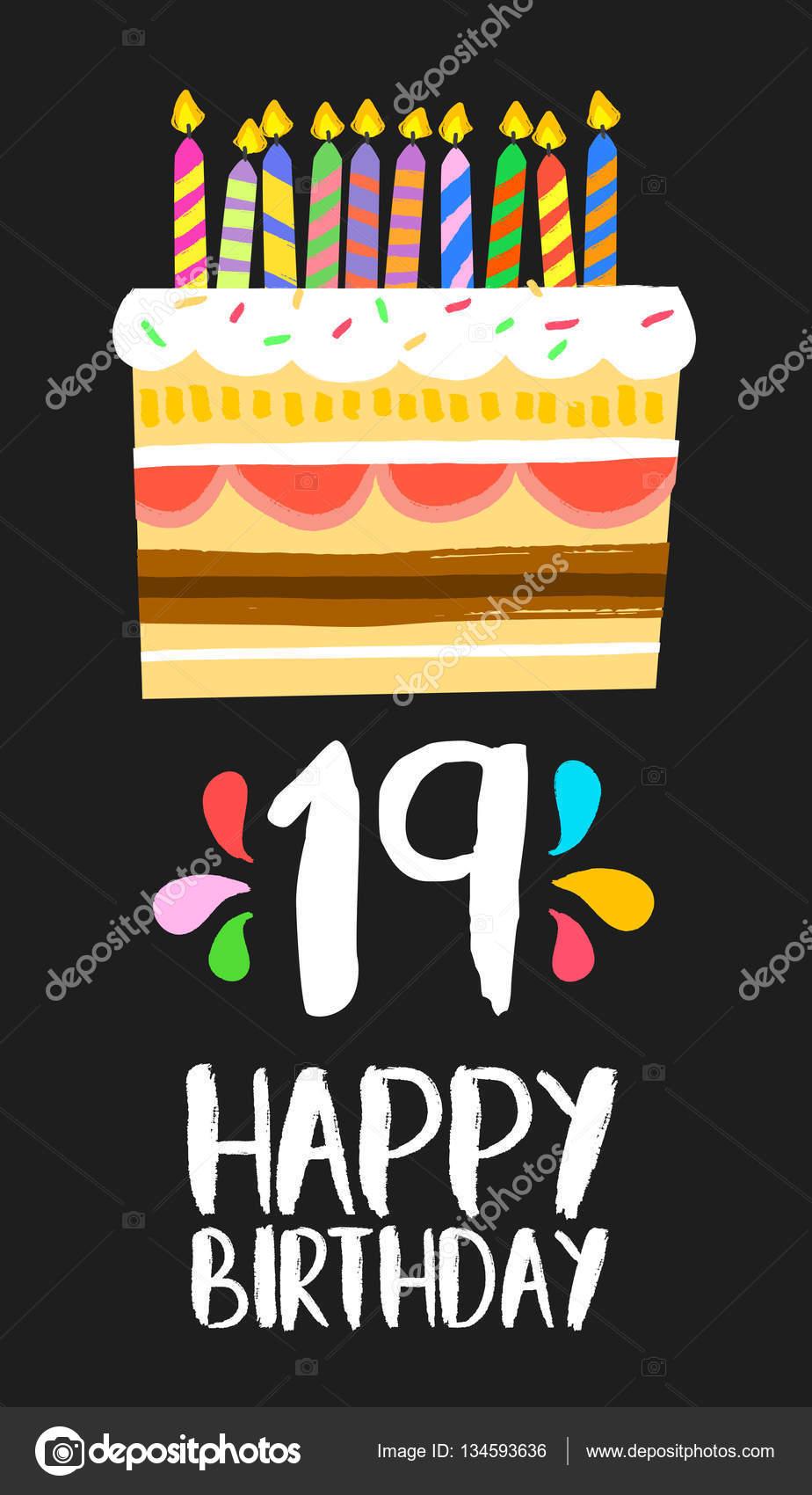 gefeliciteerd met je 19e verjaardag Happy Birthday cake kaart 19 negentien jaar partij — Stockvector  gefeliciteerd met je 19e verjaardag