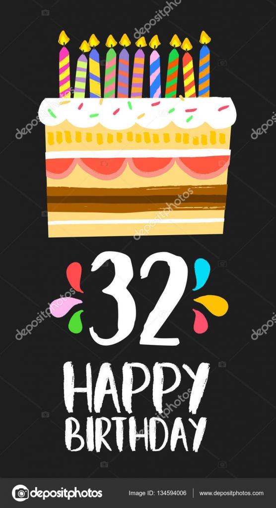 gefeliciteerd 32 jaar Happy Birthday card 32 thirty two year cake — Stock Vector  gefeliciteerd 32 jaar