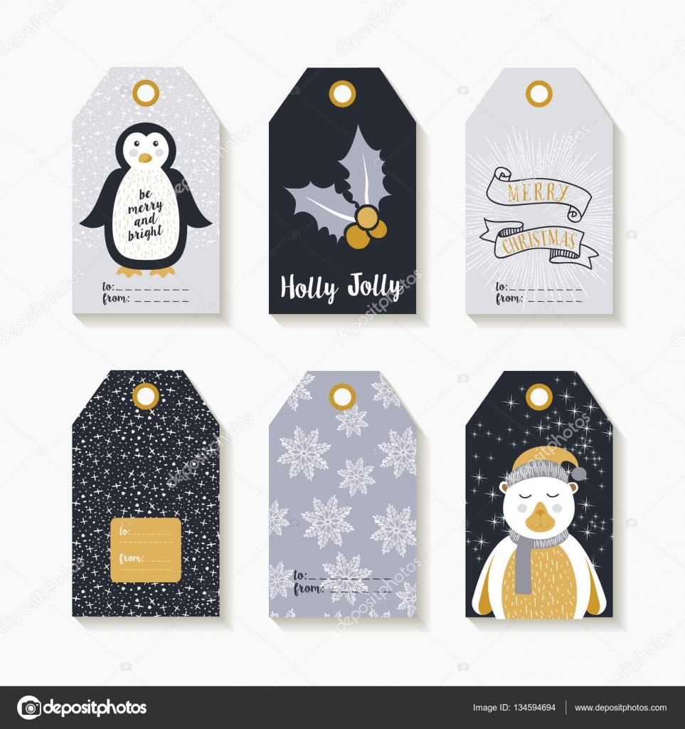 Weihnachten Satz von Etiketten und Anhänger für Weihnachtsgeschenke ...