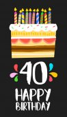 Happy Birthday card 40 forty year cake