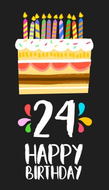 Happy Birthday card 24 twenty four year cake