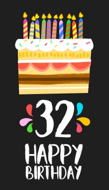 Happy Birthday card 32 thirty two year cake