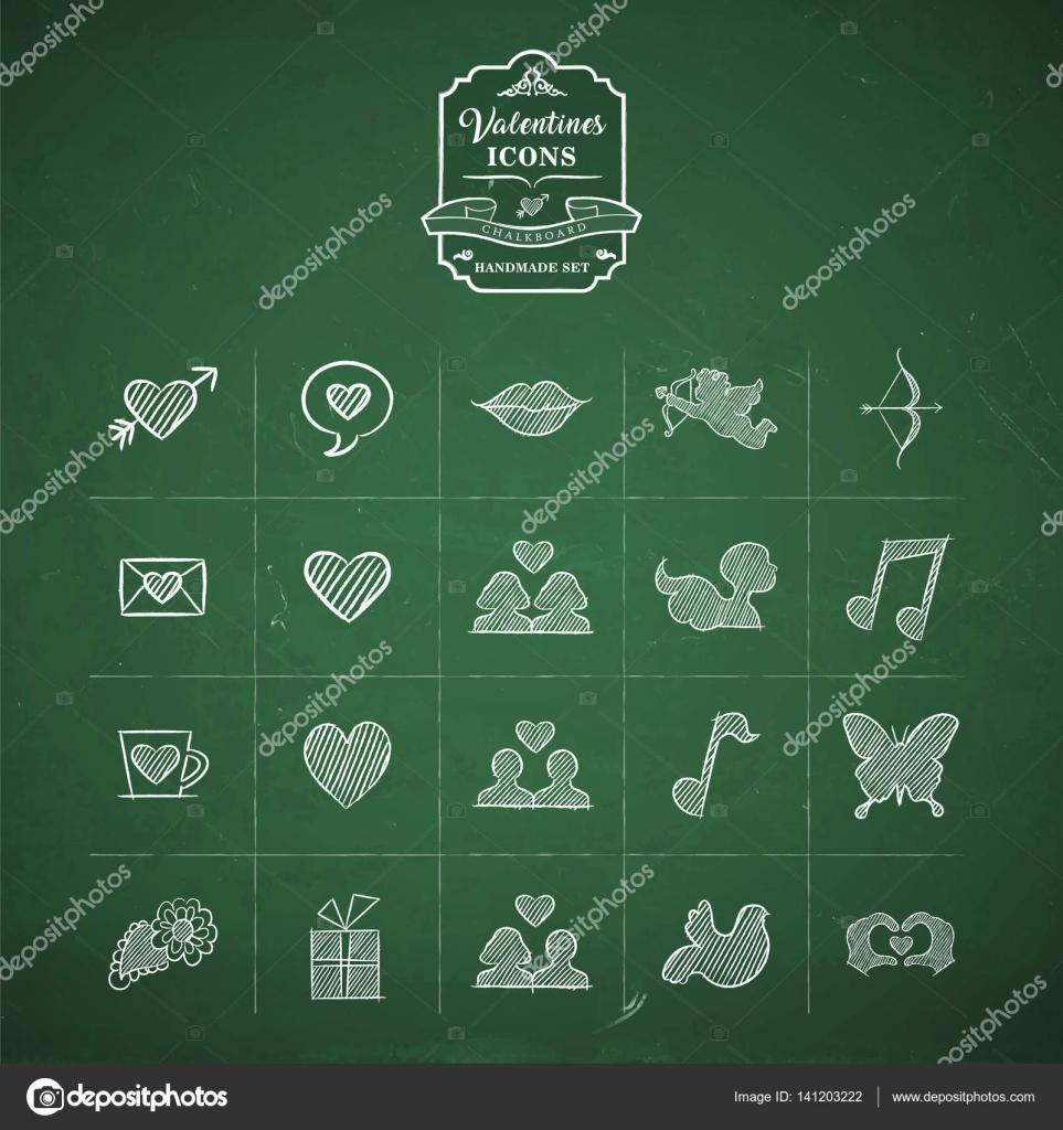 Conjunto de iconos de doodle día de San Valentín hechos a mano ...
