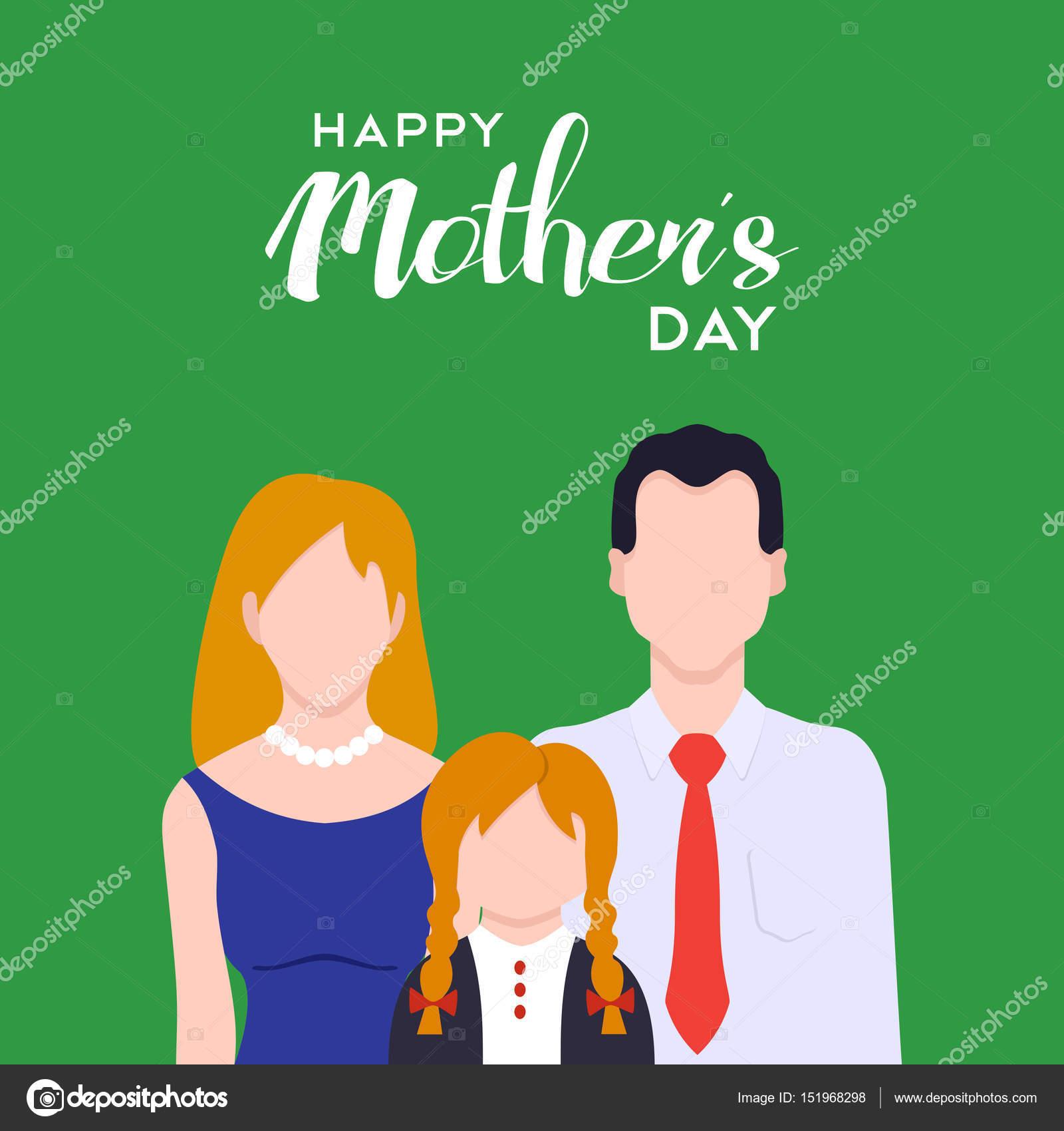 Ilustración de amor familiar de día de madres feliz — Archivo ...