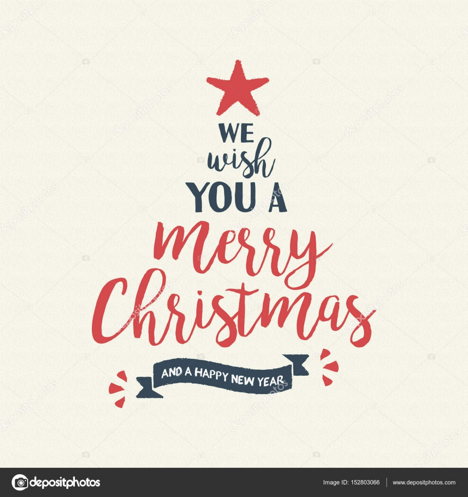 Merry christmas quote tree lettering illustration — Stock Vector ...