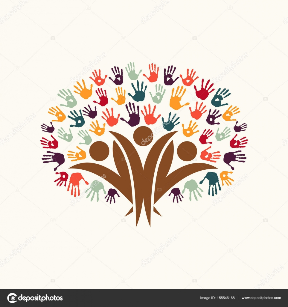Hand print people tree symbol for community help stock vector handprint tree symbol with people silhouettes diverse community concept illustration for organization help environment project or social work buycottarizona