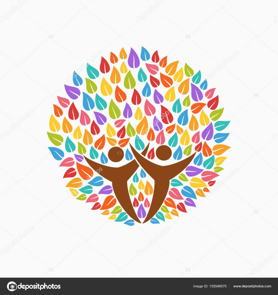Color tree people symbol for community team help stock vector multicolor tree symbol with people silhouettes concept illustration for organization help environment project or social work eps10 vector buycottarizona